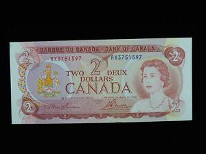 1974 $2 Bank of Canada Banknote RX 3751597 Lawson Bouey AU-UNC Grade Bill
