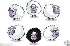 Wall sticker 6x FUNNY SHEEP ROOM kid nursery daycare deco FARM BARNYARD