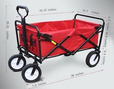 Techtongda Folding Garden Cart Multifunctional Utility Outdoor Red Lawn Wagon