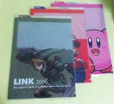 Clear Filing Sheets Zelda Kirby Mario Club Nintendo JAPAN USED