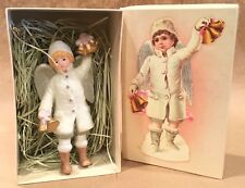 """Costco Porcelain Victorian Child Angel Boy With Bells Christmas Ornament IOB 6"""""""