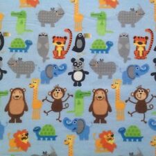 ~FLANNEL~Zoo~Jungle~Animal~Quilting~Fabric~Boys~Baby~Girls~Blue~Flannelette~FQ~
