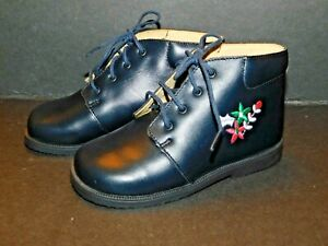 """ZOORI INFANT TODDLER """"LEA"""" REAL LEATHER LACE DARK BLUE BOOTS FLORAL LOGO  BNIB"""