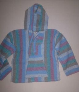 New Baja Surfer Children Hoodie Mexican Pullover Striped Multicolored SZ 1-4