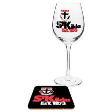 St Kilda Saints AFL Wine Champagne Drink Glass & Cork Coaster Anniversary Gift