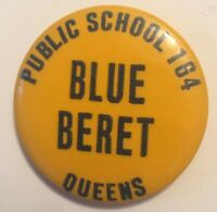 "Public School Blue Beret P.S. 164 - Queens, New York 1.25"" Button Pinback"