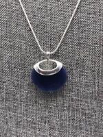 "Silver Tone & Navy Blue Snake Chain Pendant Necklace 20"" Liz & Co."