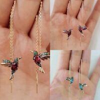 Kolibri Ohrringe Stud Threader Long Drop Quaste Kristall baumeln Ohrschmuck