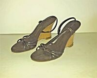 Enzo Angiolini Wedge Sandals Brown Leather Strappy Slingback Size 9 M
