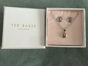 Ted Baker Elvina Fushia Pink Button Pendant Necklace And Stud Earring Set Silver