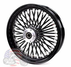 "Black Out 18"" X 3.5"" 48 Fat King Spoke Front Wheel Rim Harley Softail Custom"