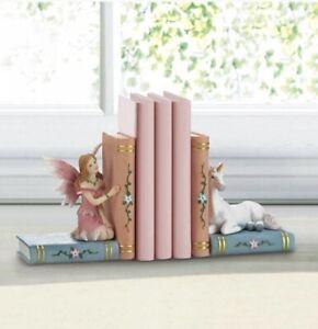Enchanted Fairy Tale Bookends Kids Girl's Room Decor Fairy & Unicorn