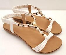WOMENS Pearls SANDALS Flats T-Bar Beach Bridal Wedding Dress SHOES 6.7.8.9.10