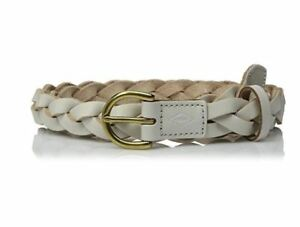 Fossil White Leather Skinny Braided Belt Gold Buckle, Vanilla Ivory