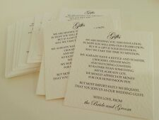 Wedding rsvp or gift poem cards for invites x10 white / ivory / hammer / linen