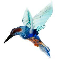 Kingfisher Glass Figurine, Blown Art, Blue and Green Bird Ornament