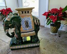Vintage Asian Ceramic Elephant Stand - Green (Multi-Color)
