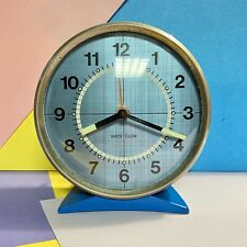 """Vintage Westclox Alarm Clock Blue With Blue Face Working Order Retro 4.5"""" Tall"""