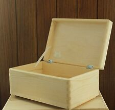 Wooden box chest storage keepsake toy plain natural pine wood 30x20x14cm SD130B