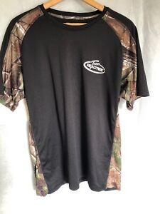 Team Realtree Men's T-Shirt L 42-44 Black w Camouflage short sleeve hunting