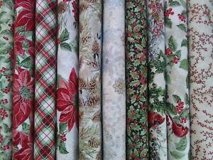 Christmas Holidays Birds & Fir Cones Fat Quarter 100% Cotton Timeless Treasures
