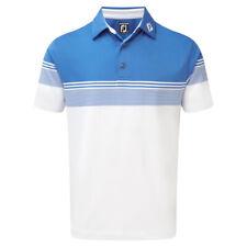 FootJoy Mens Stretch Lisle Gradient Colour Block Golf Polo Shirt (Marine/White)