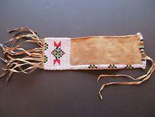 NATIVE AMERICAN BEADED PIPE BAG, AMERICAN INDIAN BEADED CHANUPA BAG, BUF-00336