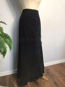 PER UNA Black Corduroy Maxi Skirt UK Size 8 TALL