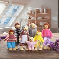 Wooden Dolls 7PCS Family Pretend Play Mini People Figures Dollhouse Girl Toy