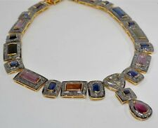 8.10Ct Rose Cut Diamond & Gemstone 925 Sterling Silver Antique Repro Necklace