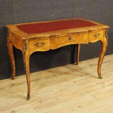 Scrivania in legno mobile scrittoio stile antico Luigi XV tavolo bronzi vintage