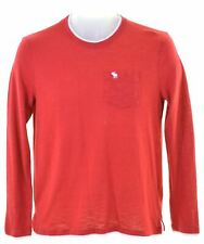 ABERCROMBIE & FITCH Boys Top Long Sleeve 15-16 Years Red Cotton  HP09