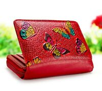 Leather wallet zipper wallet for women hand painted and tooled purse