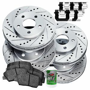 For Kia Spectra, Spectra5 Front Rear  Drill Slot Brake Rotors+Ceramic Brake Pads