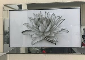 White sparkly flower picture glitter in mirrored frame 100 x 60 cm