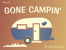 Joanie STENCIL Gone Camping Vintage RV Family Sport Cabin Heart Love Art Signs
