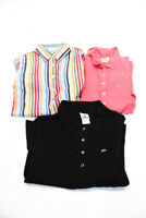 Lacoste Womens Long Sleeve Collared Polo Shirt Pink Black Size FR 38 40 42 Lot 3