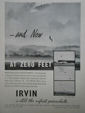 11/1955 PUB IRVING IRVIN PARACHUTE ZERO FEET EJECTION MARTIN BAKER METEOR AD
