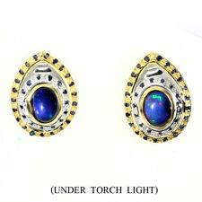 GENUINE Oval 8x6mm Hot Rainbow Black Opal ,Sapphire 925 Sterling Silver Earrings