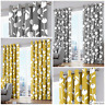 Alabar - FLORAL PATTERN Fully Lined EYELET Ring Top Curtains - GREY OCHRE YELLOW
