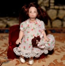 Miniature Porcelain Doll Girl Dollhouse 1:12 Toddler Baby with Doll