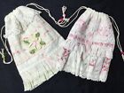 2 gift pouches Antique French Pink Rose Yuwas and Pretty ribbon flower on lace