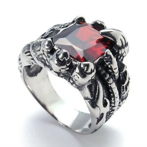 Super Cool Stainless Steel Ruby Blue Zircon Dragon Claw Ring