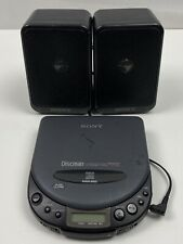 Vintage Sony D-113CR Discman CD Player With Sony SRS-8 Portable Stereo Speakers