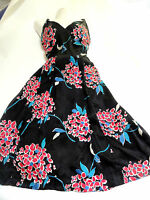 BEAUTIFUL MONSOON DRESS 16 PARTY WEDDING   FLORAL VINTAGE 50'S STYLE SILK