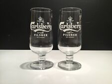Carlsberg Pilsner Larger Pint Chalice Glass X2 **NEW STYLE ** New And Unused