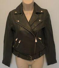 "Muubaa Ladies Luxury Leather Jacket ""Manning"" Biker BNWT UK 8 Granite RRP £485"