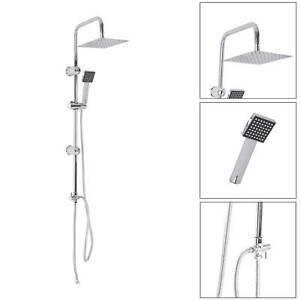 Shower Kit Twin Head 2 Mixer Shower Heads Rail Hose Riser Square Bathroom Set