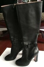 New Red Valentino Betty Bow Boots Black Leather Knee High EU 37 US 7 (run small)