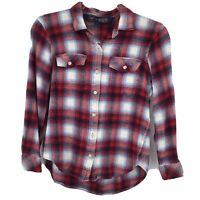 GAP + Pendleton Long Sleeve Flannel Shirt Small S Red Plaid Button Front